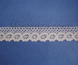 Кружевная тесьма, артикул 65с, ширина 28 мм, цвет белый