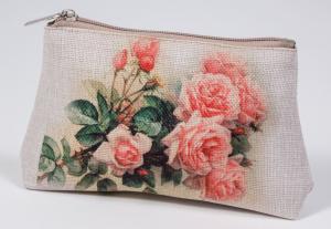 """Готовая косметичка из холста """"Розовые розы"""""""