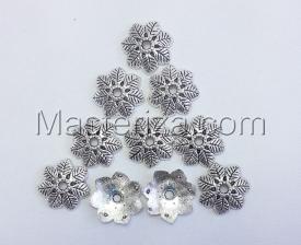 Шапочки для бусин 022,серебро,10 шт.