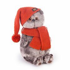 Кот Басик в вязаной шапке и шарфе.