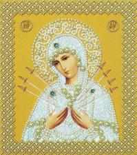 Картины бисером | Икона Божией Матери Семистрельная (золото).