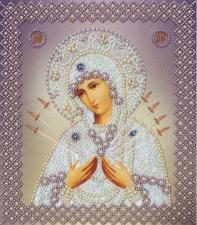 Картины бисером | Икона Божией Матери Семистрельная (серебро).