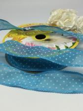 Лента декоративная в горошек, Skroll, 25 мм, модель 1005, цвет голубой в белый горошек