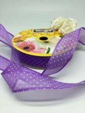 Лента декоративная в горошек, Skroll, 25 мм, модель 1005, цвет фиолетовый в белый горошек