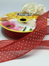 Лента декоративная в горошек, Skroll, 25 мм, модель 1005, цвет красный в белый горошек