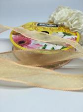 Лента декоративная в горошек, Skroll, 25 мм, модель 1005, цвет пудровый в белый горошек