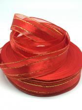 Лента атлас/органза декоративная,25 мм,цвет 1026 (красный)