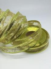 Лента органза декоративная с металлизированным краем,25 мм,цвет золото