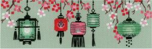 """Набор для вышивания крестом """"Китайские фонарики"""". Размер - 24 х 8 см."""