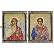 """Складень """"Св. Вмч. Целитель Пантелеймон и Ангел Хранитель"""""""