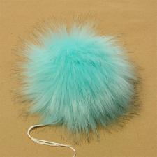 Помпон искусственный мех, песец 17-18 см, цв.голубой №3 А