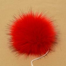 Помпон искусственный мех, песец 17-18 см, цв.красный №8 А