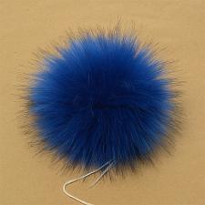 Помпон искусственный мех, песец 17-18 см, цв.тёмно-синий №18 А