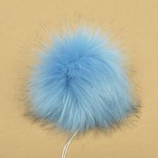 Помпон искусственный мех, песец 17-18 см, цв.светло-синий А