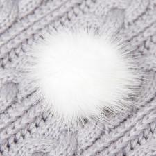 Помпон натуральный мех, норка 5см, цв.белый А