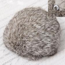 Помпон натуральный мех, заяц 10см, цв.серый А