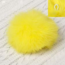 Помпон натуральный мех, заяц 8см, цв.жёлтый А