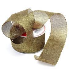 Лента атласная с люрексом,IDEAL,50 мм,цв.140 чёрный/золото