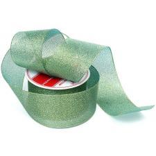 Лента атласная с люрексом,IDEAL,50 мм,цв.058 зелёный