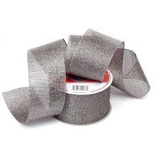 Лента атласная с люрексом,IDEAL,50 мм,цв.139 чёрный/серебро
