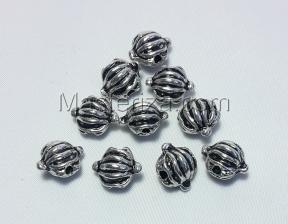 Бусины металлические (серебро),КМ127,10 шт