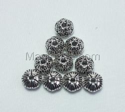 Бусины металлические (серебро),КМ129,10 шт