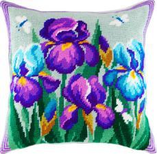 """Набор для вышивания подушки """"Синие ирисы"""". Размер - 40 х 40 см."""