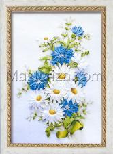 Шёлковый сад | Букет ромашек и васильков. Размер - 20 х 28,5 см