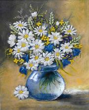 Шёлковый сад | Ромашки и колоски в вазе. Размер - 20 х 29 см