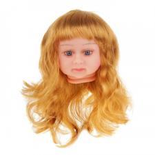 """Парик для кукол """"Прямые волосы,с чёлкой"""",размер большой,цвет золотой блонд,диаметр 12 см"""