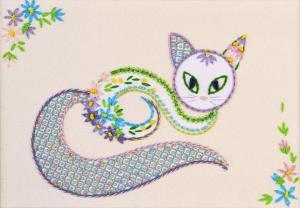 """Набор декоративными швами """"Цветочный кот-1"""". Размер - 24 х 17 см."""