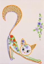 """Набор декоративными швами """"Цветочный кот-2"""". Размер - 17 х 24 см."""