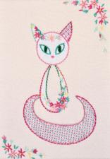 """Набор декоративными швами """"Цветочный кот-3"""". Размер - 17 х 24 см."""