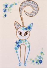 """Набор декоративными швами """"Цветочный кот-4"""". Размер - 17 х 24 см."""