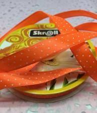 Лента атласная с рисунком мелкий горох,12 мм,цвет 025 (оранжевый+белый)
