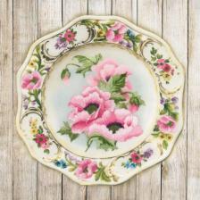 "Риолис | ""Тарелка с розовыми маками.Гладь"". Размер - 21 х 21 см."