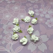 Цветы из фоамирана,2 см,10 шт,арт.А-20/1,белый/зелёный