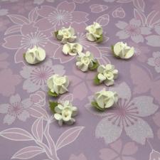 Цветы из фоамирана,2 см,10 шт,арт.А-20/2,айвори/зелёный