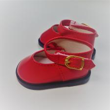Туфли лаковые с ремешком на липучке,7 см,цв.красный