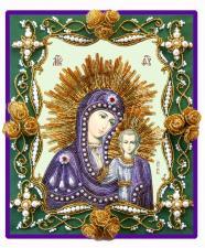 """Богородица Казанская (венчальная пара """"Золотые розы""""). Размер - 26 х 30 см."""
