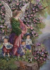 Изящное рукоделие | Ангел и дети. Размер - 28 х 39 см