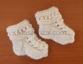 Вязаные носочки для куклы,5 см,цв.белый