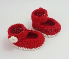 Вязаные туфли на застёжке для куклы,5 см,цв.красный