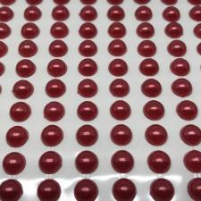 Декоративный стикер с клеевыми круглыми полубусинами,8 мм.цв.красный