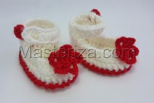 Вязаные туфли на застёжке для куклы,5 см,цв.белый
