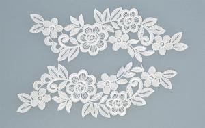Лейсы пришивные,цв.белый,24х6 см,компл.2шт