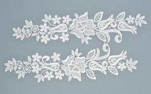 Лейсы пришивные,цв.белый,30х7 см,компл.2шт