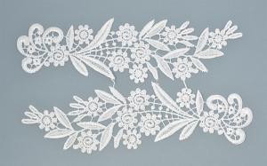 Лейсы пришивные,цв.белый,27х8 см,компл.2шт