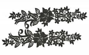 Лейсы пришивные,цв.чёрный,30х7 см,компл.2шт