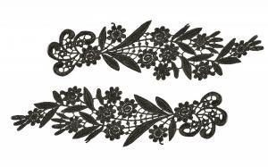 Лейсы пришивные,цв.чёрный,27х8 см,компл.2шт